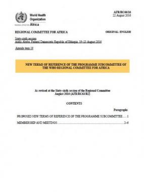 Terms of reference of the programme subcommittee of the WHO Regional Committee for Africa