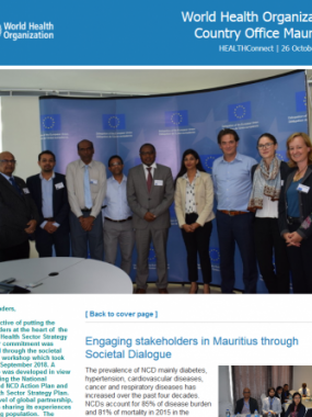 WHO Mauritius e-Newsletter 26 October 2018:  Engaging stakeholders through societal dialogue