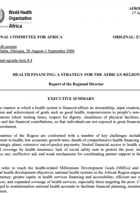 Health Financing: A Strategy for the African Region AFR/RC56/10