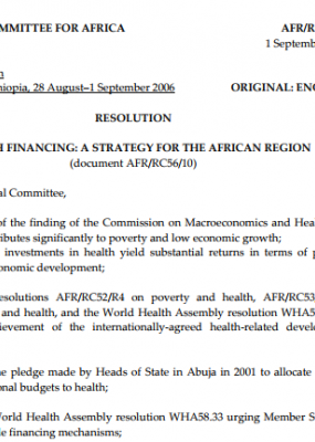 Resolution - Health Financing: A Strategy for the African Region AFR/RC56/R5