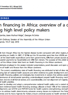 Health financing in Africa: overview of a dialogue among high level policy makers