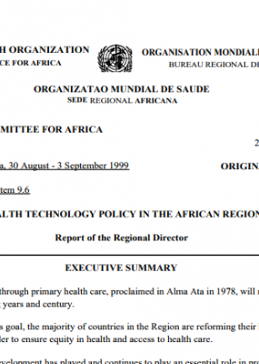 AFR/RC49/12 Health Technology Policy in the African Region