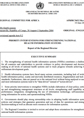 Strengthening national health information systems