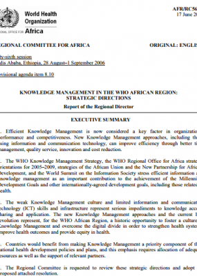 Knowledge Management in the WHO African Region: Strategic Directions