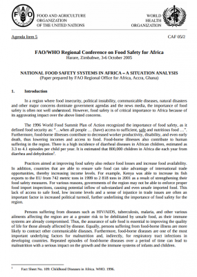 National Food Safety Systems in Africa - A situation analysis
