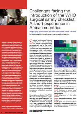 Challenges facing the introduction of the WHO surgical safety checklist: A short experience in African countries