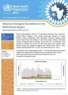 Influenza Virological Surveillance in the WHO African Region, Epidemiological Week 40, 2017