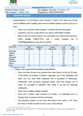 Zambia Cholera outbreak Situation Report - 1 March 2018