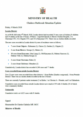 Zambia Cholera Outbreak Situation Update - 9 March 2018