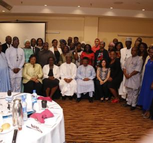 A group photograph with delegates at the Breakfast meeting with Minister of State for Health, ED NPHCDA,  Development partners, Private sector, Business Community, philantropists & Civil societies