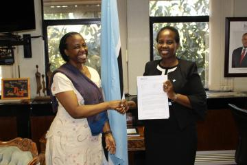 Dr Josephine Namboze, the new WR to Botswana, presents her Credentials to the Honourable Minister of International Affairs and Cooperation