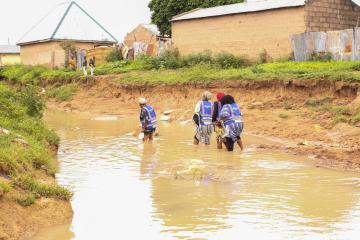 WHO personnel on active surveillance in flood-prone community of Adamawa State.jpg