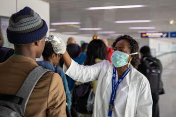 Passenger screening at Maya Maya International airport, Brazzaville, Republic of Congo