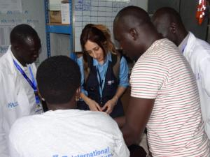 Ms Marina Adrianopoli, Technical Officer for Nutrition, monitoring the utilization of the WHO SAM kits at the IMC clinic in Juba POC