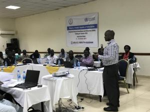 Dr Wamala Joseph Francis, WHO Epidemiologist making a presentation on identifying and reporting cases of priority diseases, conditions and events. Photo: WHO.