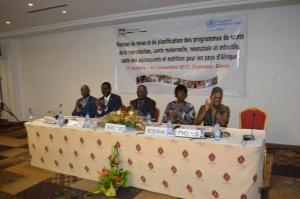 Dr K.OUEDRAOGO (UNFPA), Dr Claudes KAMENGA (UNICEF), Dr Lucien TOKO (MS), Dr Felicitas ZAWAIRA, D/SR/OMS/AFRO) et Dr Yves MONGBO (OOAS)