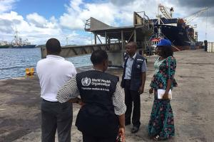 A WHO team monitor plague surveillance efforts at a seaport in Seychelles together with the country's Ministry of Health. Seychelles has not had any confirmed cases of plague but is increasing preparedness given its proximity to Madagascar and the strong ties between the two Indian Ocean nations.
