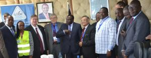 Health Cabinet Secretary Dr Cleopa Mailu (centre) launches the International Certification mission to certify Kenya Guinea Worm free. He is accompanied by WR Kenya Dr Rudi Eggers, 4th left, chairman of the team Dr Joel Breman, 5th left, and part of the rest of the team