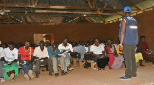 Ms. Nanyonga training the VHTs at Ngenge sub-county in community mobilization