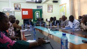The Director of Public Health, Dr Badu Sarkordie  and  WHO Representative for Ghana, Dr Owen Kaluwa, co-chaired a coordination meeting of partners on responding to the influenza A (H1N1) in Kumasi, Ghana. Credit WHO Ghana.