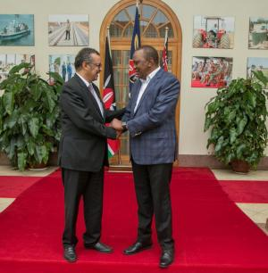 DG Dr Tedros with President Uhuru Kenyatta at State House Nairob where they discussed implementation of Universal Health Coverage and Kenya's four priority areas of focus