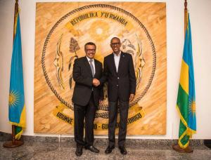 His Excellency Mr Paul Kagame, President of Rwanda with Dr Tedros Adhanom, DG WHO