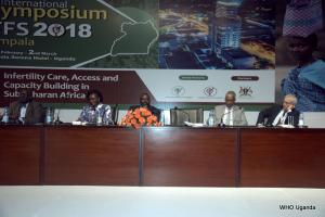 L-R: Professor Oladapo Ashiru, President of Africa Fertility Association, Hon Sarah Opendi- Minister of State for Health, Hon Jacob Oulanya- Deputy Speaker of Parliament in Uganda, Dr. Yonas Tegegn- WHO Representative to Uganda and Dr Richard Kennedy, President of the IFFS at the opening of the symposium