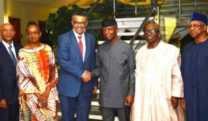 L-R WHO  Representative to Nigeria,  Regional Director for Africa, Director General, Nigeria's Vice President , Minister of Health and Minister of State for Health