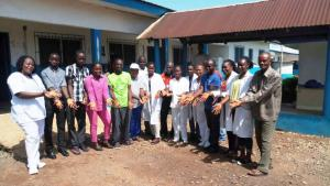 Healthcare workers at Chief Jallah Lone Medical Center celebrating WHHD, Gbarpolu County, Liberia