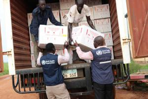 Vaccines received from the Global Task Force on Cholera Control (GTFCC)  being loaded