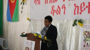 Honorable Minister of Health, Mrs Amina Nurhussein making remarks