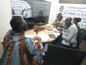 Mrs. Zainab S. Snoh, WHO IPC Officer and Mr. Garrison Kaiwillain, MOH IPC Coordinator during a live radio talk show as part of the World IPC Day celebration in Monrovia