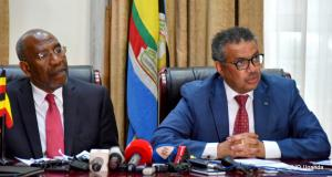 Prime Minister Dr Ruhakana Ruganda (left) and WHO DG Dr Tedros Adhanon Ghebreyesus address the media during the presser