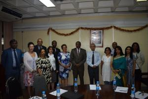 The delegation from St Helena Island in the company of Dr L. Musango, WHO Representativ, the Health Minister, Dr Hon. A. Husnoo (in the centre) and high level officials of the Ministry of Health and Quality of Life