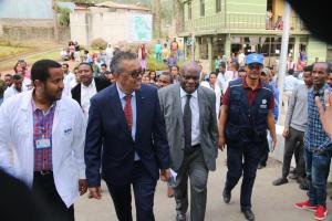 Dr Tedros Adhanom, WHO Director General visiting health facilities in Ethiopia