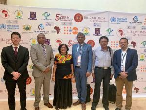 Mauritius Delegates at the afHEA Conference in Ghana, March 2019: Dr A. Samura, WHO Technical Officer, Dr L. Musango, WHO Representative, Dr (Mrs) Timol, Director Health Services, Ministry of Health and Quality of Life, Mr A. Nundoochan, WHO-NPO (Operations), Mr Y. Ramful, Lead Health Analyst, Ministry of Health and Quality of Life and Dr F. Shaikh, WHO Technical Officer
