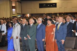 Mrs M. Mudaliar, Ag SCE, Ministry of Health, Hon D. Seesungkur, Minister of Financial Services and Good Governance,  Hon P.Koonjoo, Minister of Ocean Economy, Marine Resources, Fisheries and Shipping,  Dr Hon A. Husnoo Minister of Health and Quality of Life, Dr Hon P.K. Jugnauth, Prime Minister, Hon. Mrs. L. Dookun-Luchoomun, Minister of Education and Human Resources, Tertiary Education and Scientific Research and Hon. M.S. Hurreeram Private Permanent Secretary attending World Health Day 2019 celebration