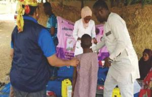 Field teams administrating measles vaccine during the 1st phase of the vaccination campaign in Borno state