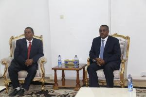 L to R:H.E. Mr Upendra Yadav, Deputy Prime Minister and Minister of Health and Population of Nepal and H.E. Demeke Mekonnen, Deputy Prime Minister of the Federal Democratic Republic of Ethiopia