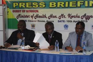 Director Public Health, Dr Badu Sakordie making his presentation