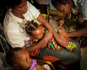 Susana and Abigail are first to be vaccinated with the malaria vaccine in Ghana pilot. Credit: WHO/Fanjan Combrink
