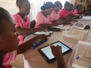 Lat batch of health workers being trained on the use of te electronic application