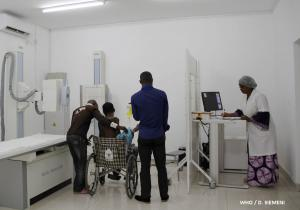 CNRD staff help a sickle cell patient in Brazzaville, June 2019