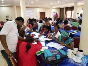 Anambra State Epidemiologist facilitating group work during State IDSR training