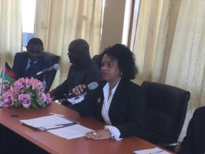 Dr Nonhlanhla Dlamini, WHO Reresentative Malawi speaking to the audience during the Ebola Virus Disease outbreak status in African Region press conference at MOH Headquarters, Lilongwe