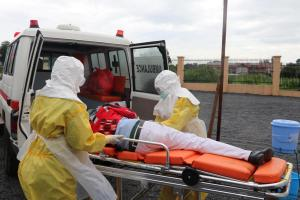 During the SIMEX - health workers evaucate suspected Ebola patient at Juba International Airport