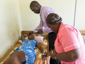 Physician attending to a patient in a health facility