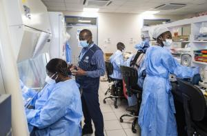 WHO Staff interacts with laboratory staff at NMIMR