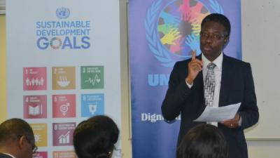 Dr Sagoe Moses delivering his remarks at the UN lecture on mental health