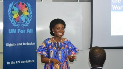 Madam Kiki Gbeho delivering her remarks during the mental health educational session at the UN House